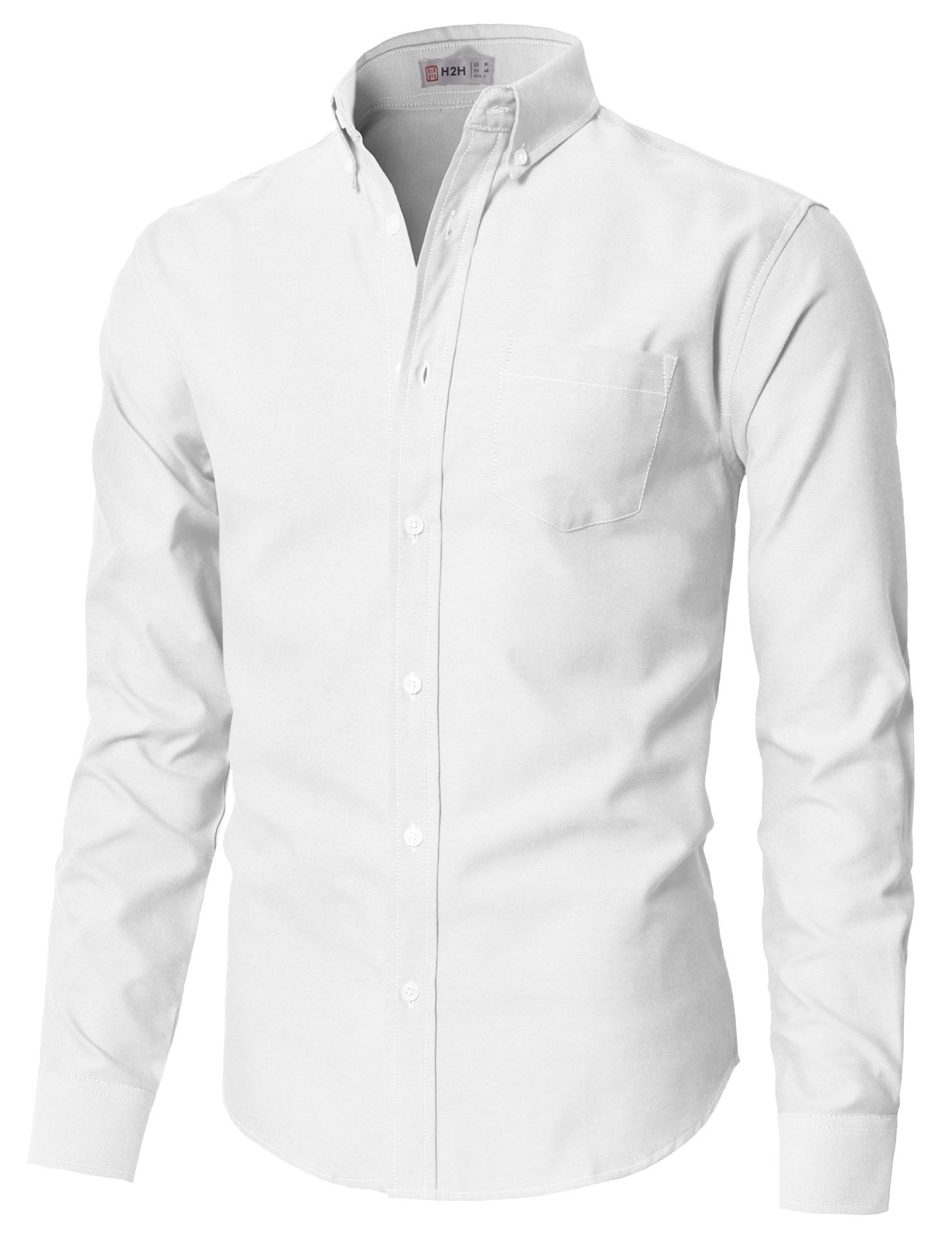 H2H Men's Solid Color 100% Cotton Oxford Long Sleeve Button Down Casual Shirt White US L/Asia XL (KMTSTL0521) by H2H (Image #1)