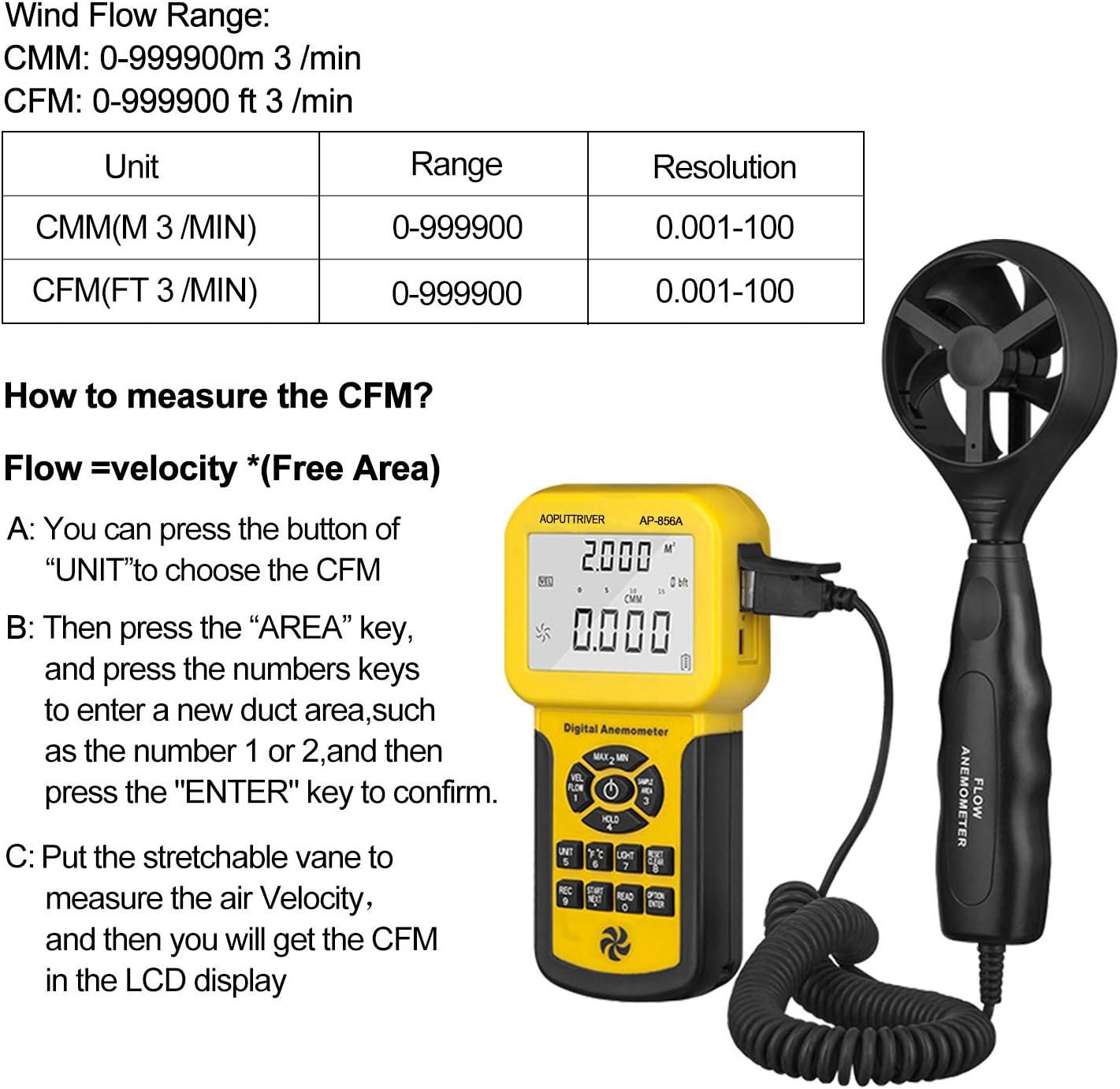 Barometric Pressure measure for HVAC CFM Shooting Altitude Digital Anemometer Barometer AP-007WM Handheld Anemometer Wind Speed Meter for Wind Speed//Temperature with Wind Chill /& Relative Humidity