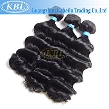 "KBL Grade 5A Brazilian Loose Wave Hair 3 Bundles 100% Natural Virgin Remy Hair Extensions Jet Black#1 (14"" 14"" 14"")"