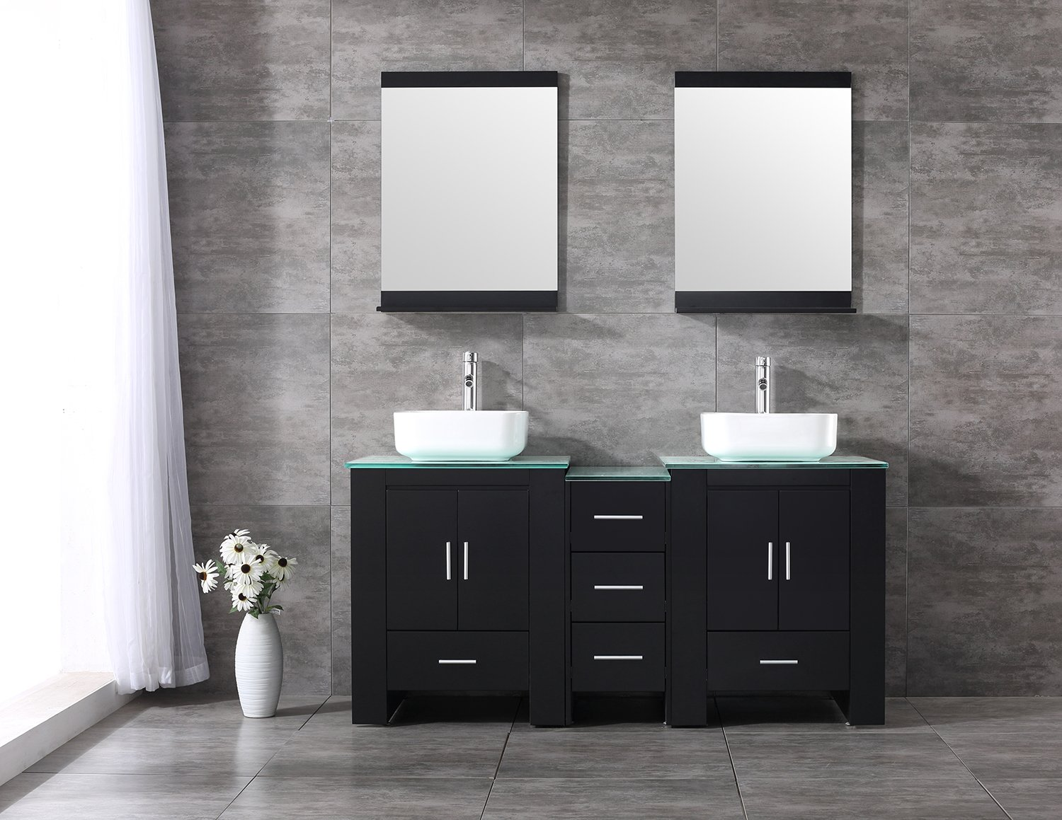 """BATHJOY Luxury 60"""" Bathroom Double Wood Vanity Cabinet with Square Ceramic Vessel Sink and Mirrors Faucet Drain Combo"""
