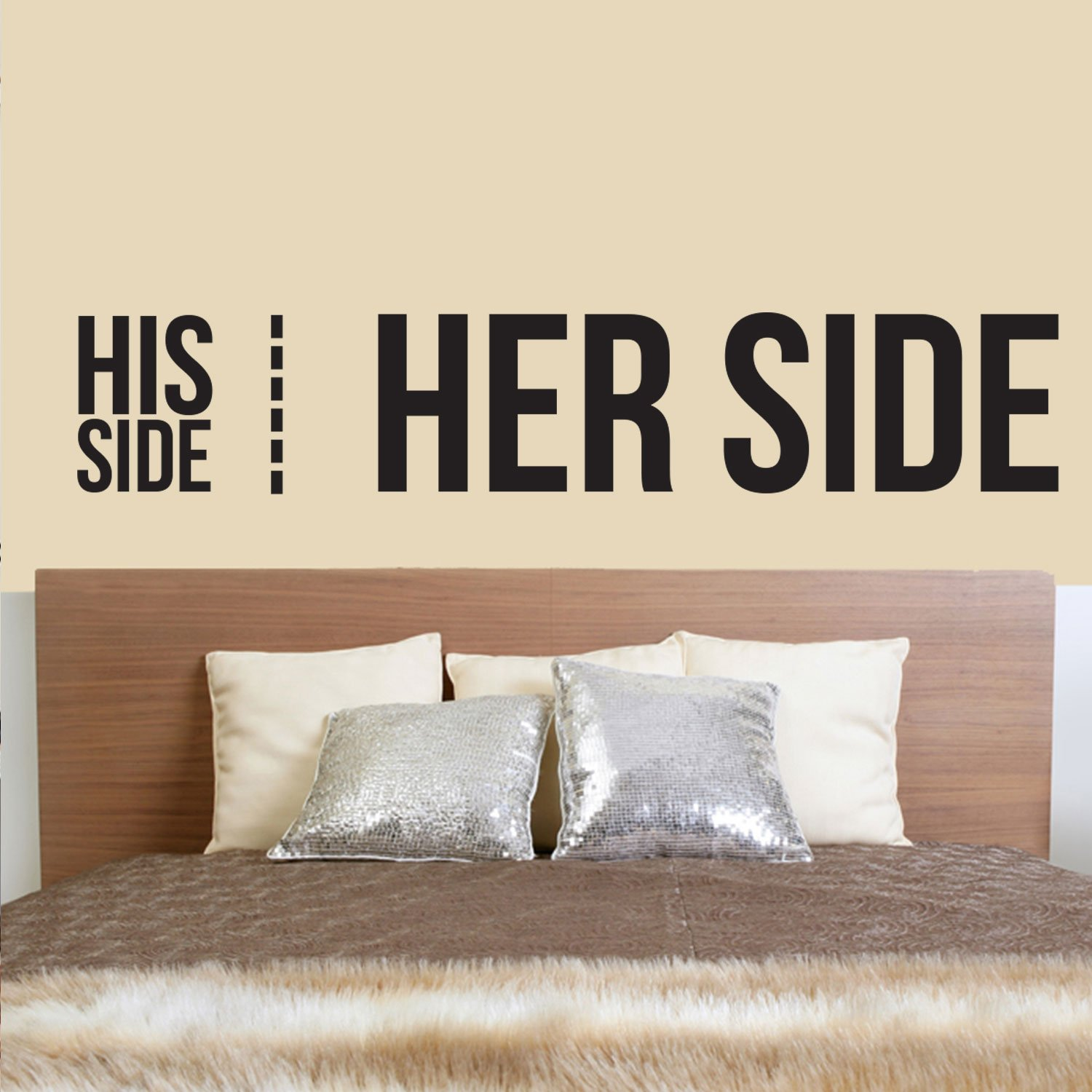and Mrs Modern Indoor Apartment Mr Couples Family Funny Humor Love Quote 10 x 50 Vinyl Wall Art Decal 10 x 50, Black Witty Husband Wife Home Bedroom Decor His Side Her Side