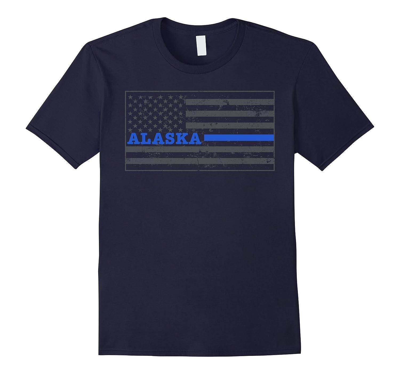 Alaska Thin Blue Line Flag Alaska Police Shirt State Trooper-TD