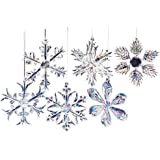 Kurt Adler Glass Iridescent Snowflake Ornament Set OF 24