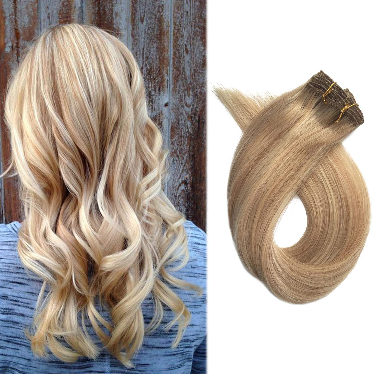 Human Hair Extension Clip in Blonde Highlighted 70rams 15'' Short Silky Straight Remy Hair Clip ins Strawberry Blonde to Bleach Blonde Mixed 7 Pieces, 27/613 by Licoville