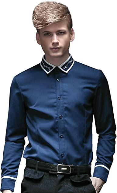 FANZHUAN Camisas Hombre Manga Larga Azul Camisas Hombre ...