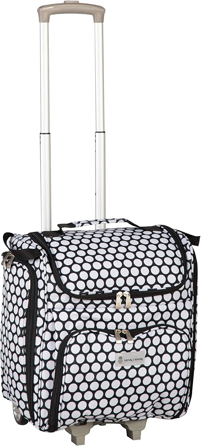 Handy Sandy Crafter's Craft Tote Bag Organizer, Dots- Storage Bag for Craft Supply, Sewing & Scrapbooking Carrier w/Handle and Wheels for Organization for School, Supplies, Tools, Medical, Office