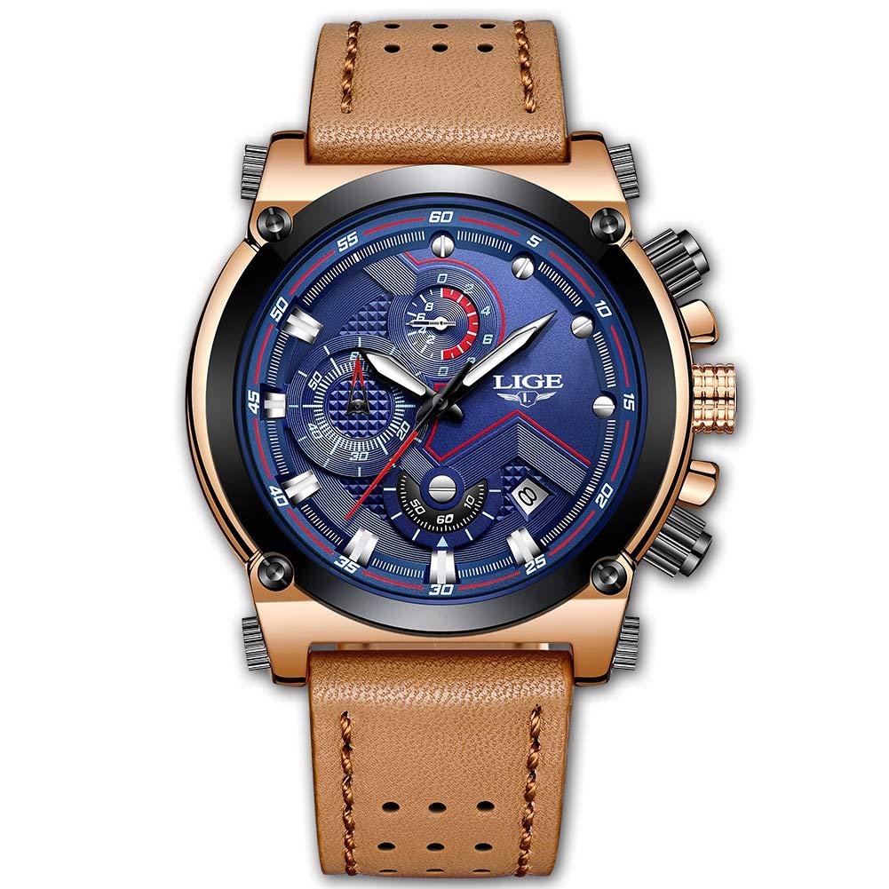 Relojes para Hombres,LIGE Cronógrafo Impermeable Militar Deportivo analógico de Cuarzo Reloj Cara Grande Correa de Cuero Marrón Fecha Moda Casual Lujo Relojes de Pulsera