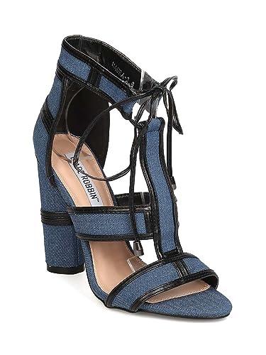 260e75f1f20 CAPE ROBBIN Denim Peep Toe Caged Block Heel Sandal GD20 - Denim (Size  7.0