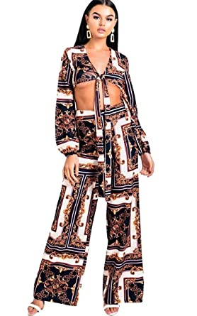1934ee0591dd1c Ikrush Womens Alba Tie Printed Co-ord Navy: Amazon.co.uk: Clothing
