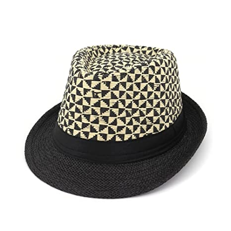 8aa676a023e Amazon.com : Gaojuan Summer Fedora Trilby Straw Sun Hats for Men ...
