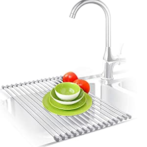 "Roll Up Dish Drying Rack, Over the Sink Dish Drying Mat, Large Silicone Stainless Steel Dishes Drainer, Foldable Drain Rack for Kitchen 17.8"" L x 11.3"" (Gray)"