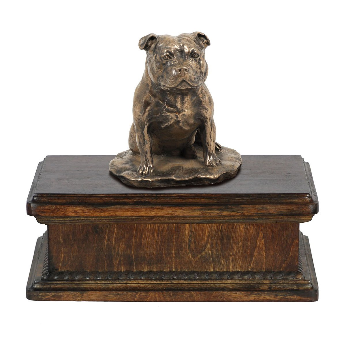 Staffordshire Bull Terrier, memorial, urn for dog's ashes, with dog statue, exclusive, ArtDog