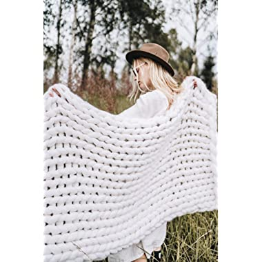 EASTSURE Chunky Knit Blanket Bulky Throw Merino Wool Hand Made Bed Sofa Throw Super Large,White,47 x71