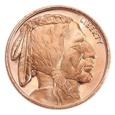 """'1Once de avdp (avoirdupois Ounce) 999/1000Fein cuivre (99,9%) Indian Head/Buffalo """""""