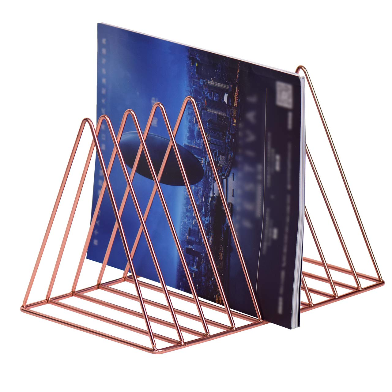 Rose Gold Eyourlife Triangle File Organizer Wire Collection 9 Slot Newspaper Organizer Journals Book Rack Bookshelf Magazine Holder for Office Home Decor