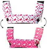 Drool and Teething Pad Reversible Organic Cotton 3-Piece set for Ergobaby Four Position 360 Baby Carrier (Pink and White Butterflies)