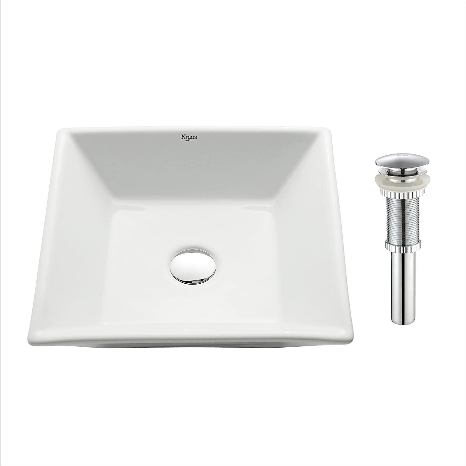 Kraus KCV-125-CH Ceramic Above counter Square Bathroom Sink, 16.8 x 16.8 x 4.72 inches, Chrome White