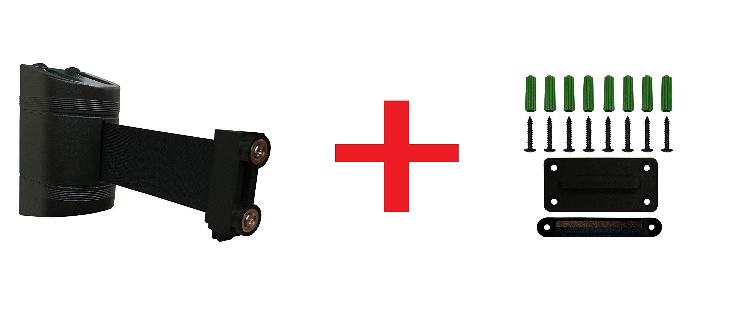 Magnetic Retractable Wall Barrier 120''L, Black Belt