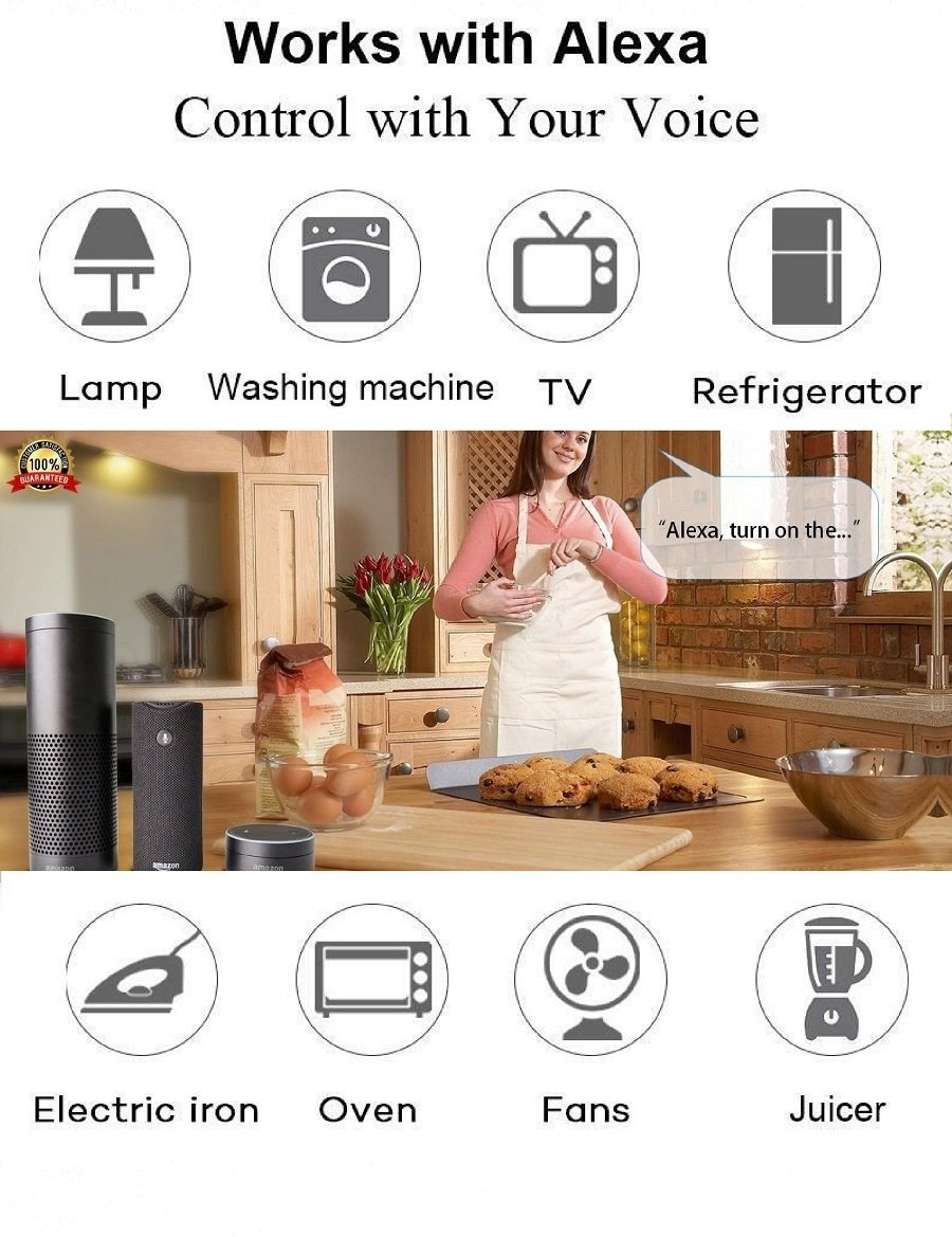 Sound Control IP55 Waterproof,wireless wifi enabled smart socket,Compatible with Alexa Echo Dot,google home for indoor/outdoor use with remote timer, Make your home and room smart by our smart plug
