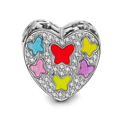 NINAQUEEN Mariposas de Colores Abalorio de mujer de plata de ley Charms beads fit Pandora pulseras: Amazon.es: Joyería