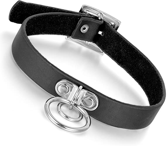 Punk Lady Gothic Clear PU Leather Choker Round Circle Buckle Collar Necklace