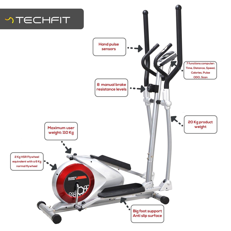 TechFit E310 EVO Bicicleta Elíptica, Cross Trainer para Hogar con Monitor LCD e Sensores de Pulso, Regulación Manual: Amazon.es: Deportes y aire libre