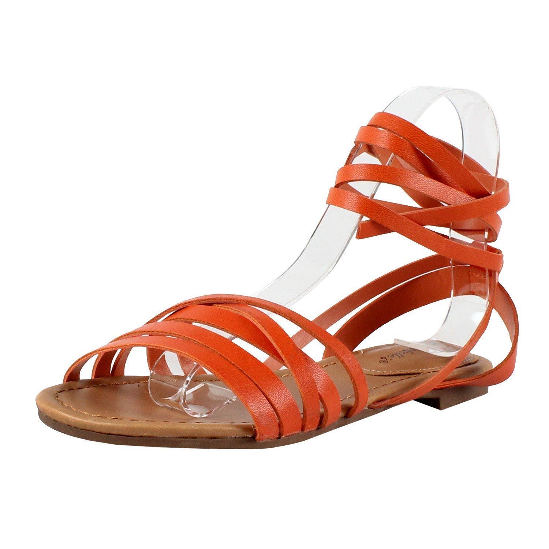 2a4d4bd0bd Amazon.com | Breckelle's Women Leatherette Open Toe Strappy Slingback Wrap  Sandal EA54 | Sandals