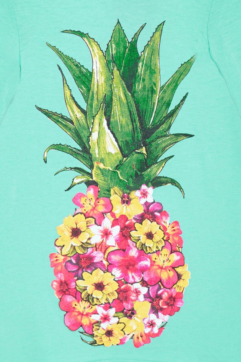 Big Girls Long Sleeve Love Heart Pineapple Graphic Handkerchief Tee Top USA Aqua Floral M by Poshsquare (Image #3)
