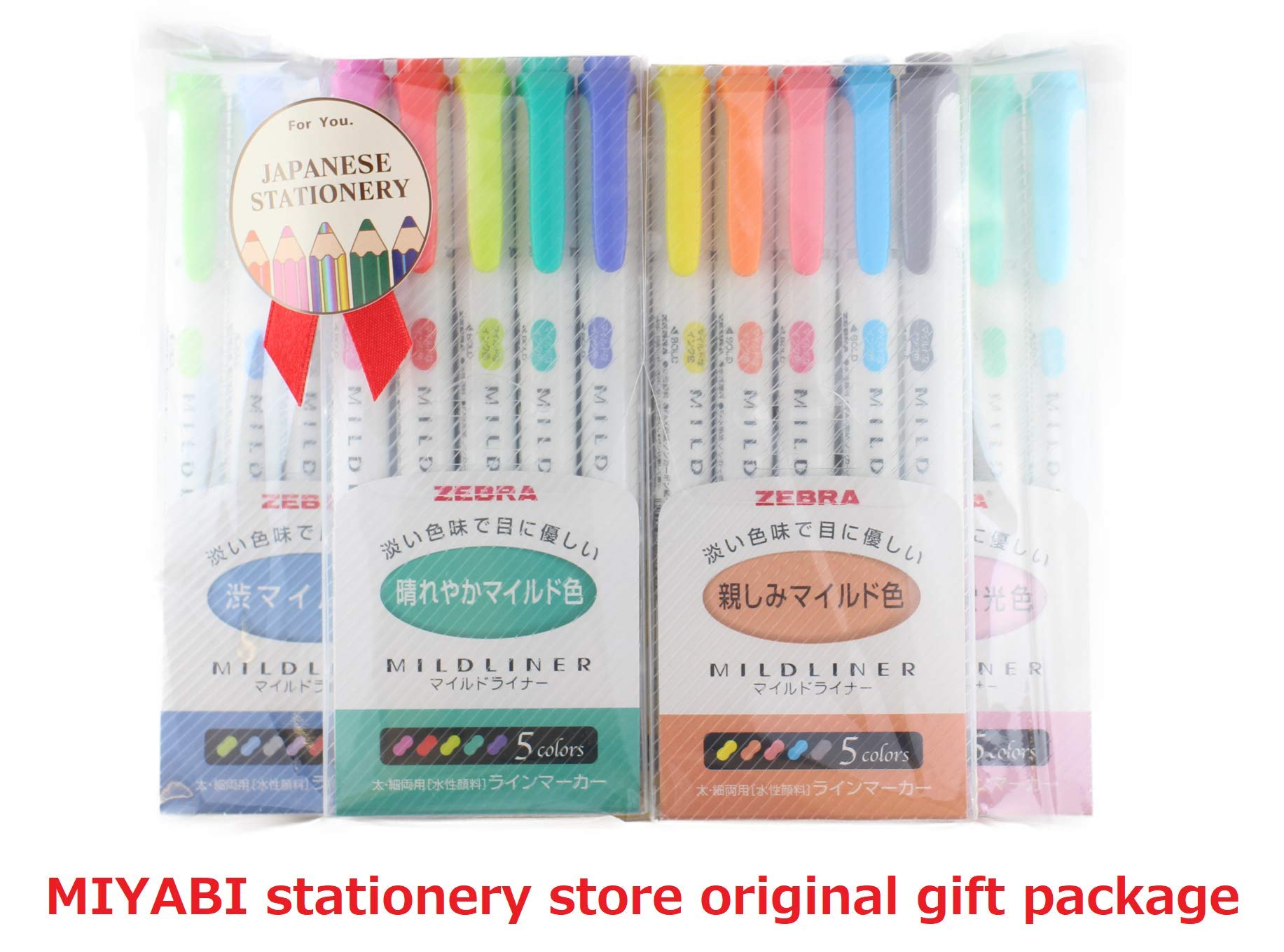 Zebra MILDLINER 5 pack(25 Color) with Japanese Stationery Original Package[5C/RC/NC/N5C/HC]