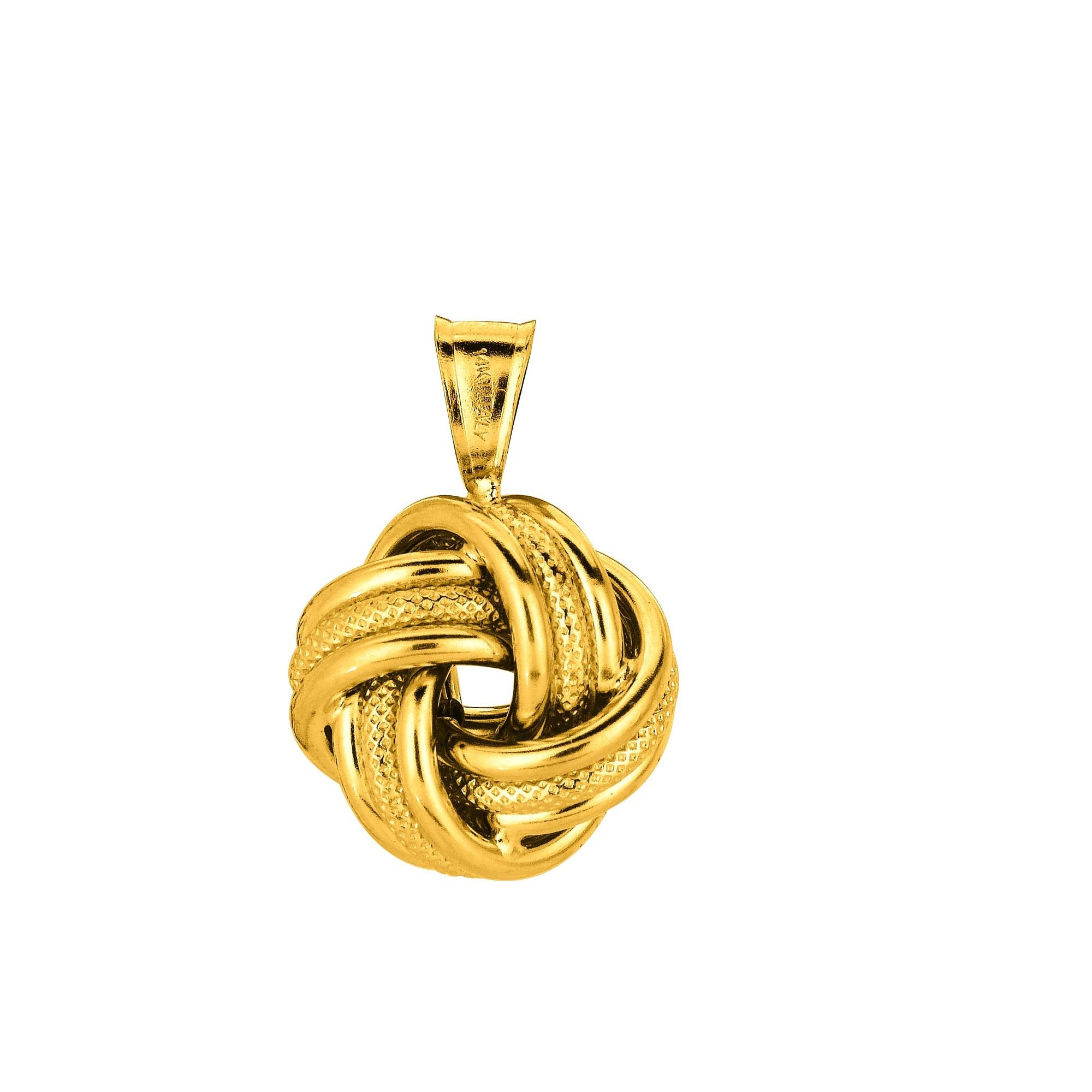 14K 18'' Yellow Gold 18'' Shiny Textured Cable Link Chain with Lobster Clasp+3 Row Love Knot Pendant