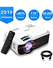 Projector, 2019 Updated ABOX T22 Portable Home Theater LCD Video Projector Support 1080p HDMI USB SD Card VGA AV Phone Laptops for Home Cinema TV 46 ANSI Lumen White