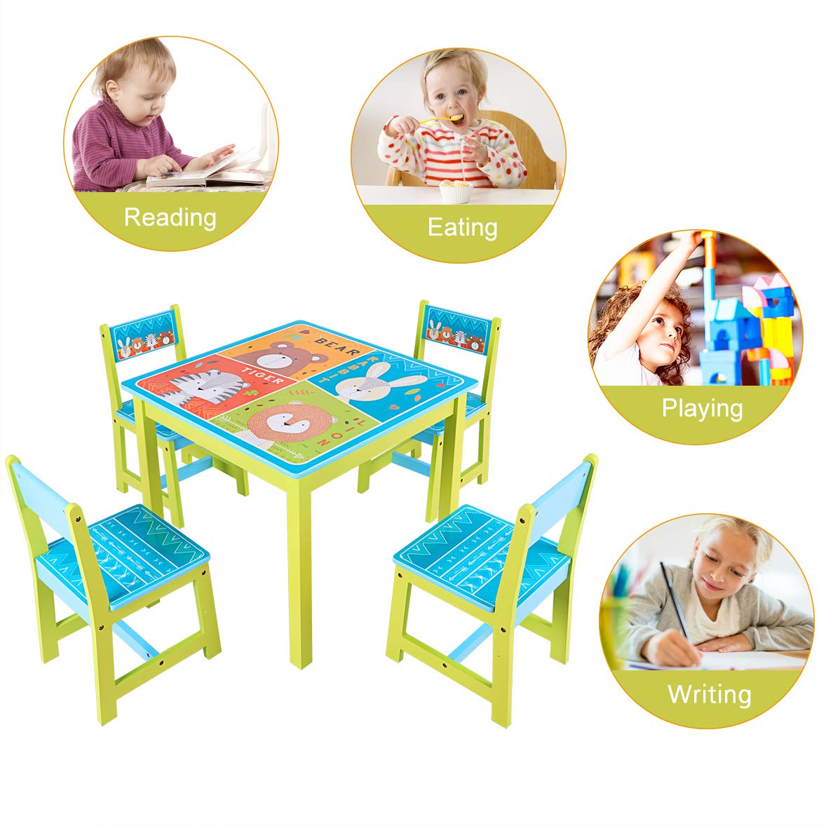 BABY JOY Kids Table and 4 Chairs Set, Wooden MDF Desk for Studying Playing Dining Indoors & Outdoors Activity, Toddler Baby Gift Desk Furniture Cartoon Pattern (Table and 4 Chairs) by BABY JOY (Image #3)