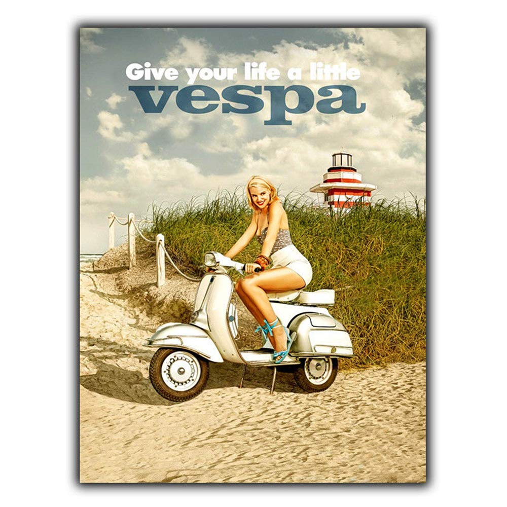 HALEY GAINES Vespa Motorcycle Placa Cartel Póster de Pared ...