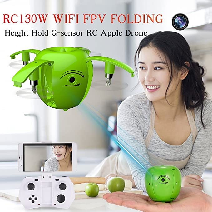 Goolsky RC LEADING RC130W 0.3MP Cámara Wifi FPV Apple Drone Altura Hold Plegable Selfie G-sensor Quadcopter: Amazon.es: Juguetes y juegos