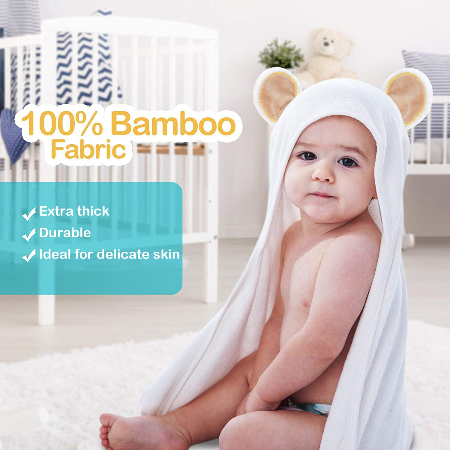 for Boys and Girls Warm and Snuggly for Bath Time Ultra Soft with Washcloth Hooded Baby Towel Set Highly Durable 100/% Bamboo The Beach and More Made from High Quality 90x90cm