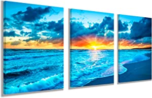 Sunrise Blue Sea View Landscape Wall Art - Canvas Print Ocean Beach Waves Scenery Modern Painting Artwork for Office Wall Decor Home Decoration (12 x 16 inch x 3 Panel)