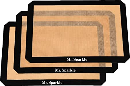 Mr Sparkle Thick & large Silicone Non-Stick Baking Mat 16.5 x 11.6 inches Eco-Friendly Certified FDA & EU LFGB - Pack of 3