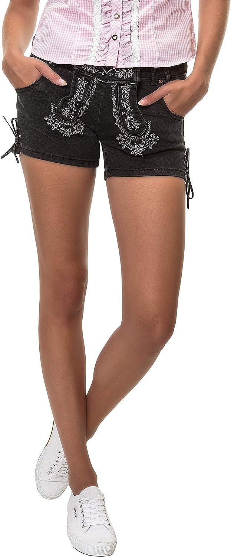 Hailys Damen Trachten Jeans Shorts Lederhose Oktoberfest Wiesn