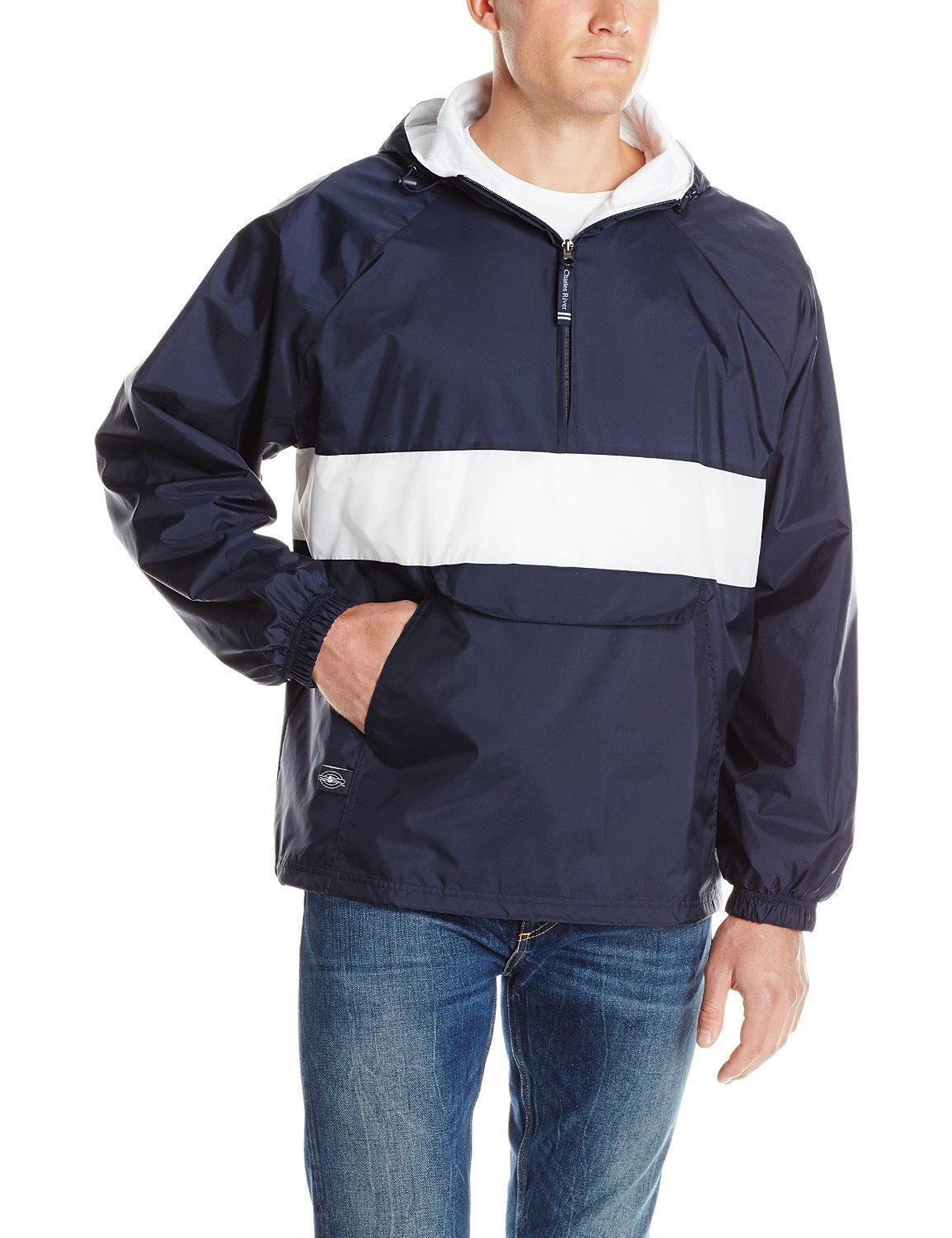 Charles River Apparel Men's Classic Striped Pullover Jacket, Navy/White, X-Large