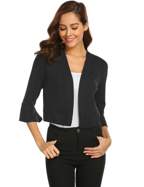 Gfones Women's Casual Open Front Work Office Jacket Ruffles 3/4 Sleeves Blazer