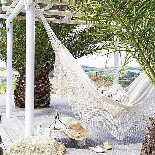 QJJML Hamaca Doble, Tela De Lino, CóModa Y Transpirable, Elegante Borla Al Aire Libre JardíN Interior Que Acampa Hamaca PortáTil para Playa: Amazon.es: Jardín