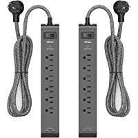 2 Pack Surge Protector Power Strip with 6 Outlets 2 USB Ports, 5-Foot Long Heavy-Duty Braided Extension Cords, Flat Plug…