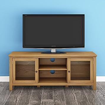 Keinode Meuble Tv Moderne En Chene Massif Meuble Tv D Angle 2 Portes
