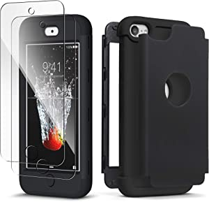 IDWELL iPod Touch 7th Generation Case with 2 Screen Protector, [Three Layer Armor Series] Heavy Duty Protection Shockproof High Impact Protective Case for Apple iPod Touch 5/6/7th Generation, Black