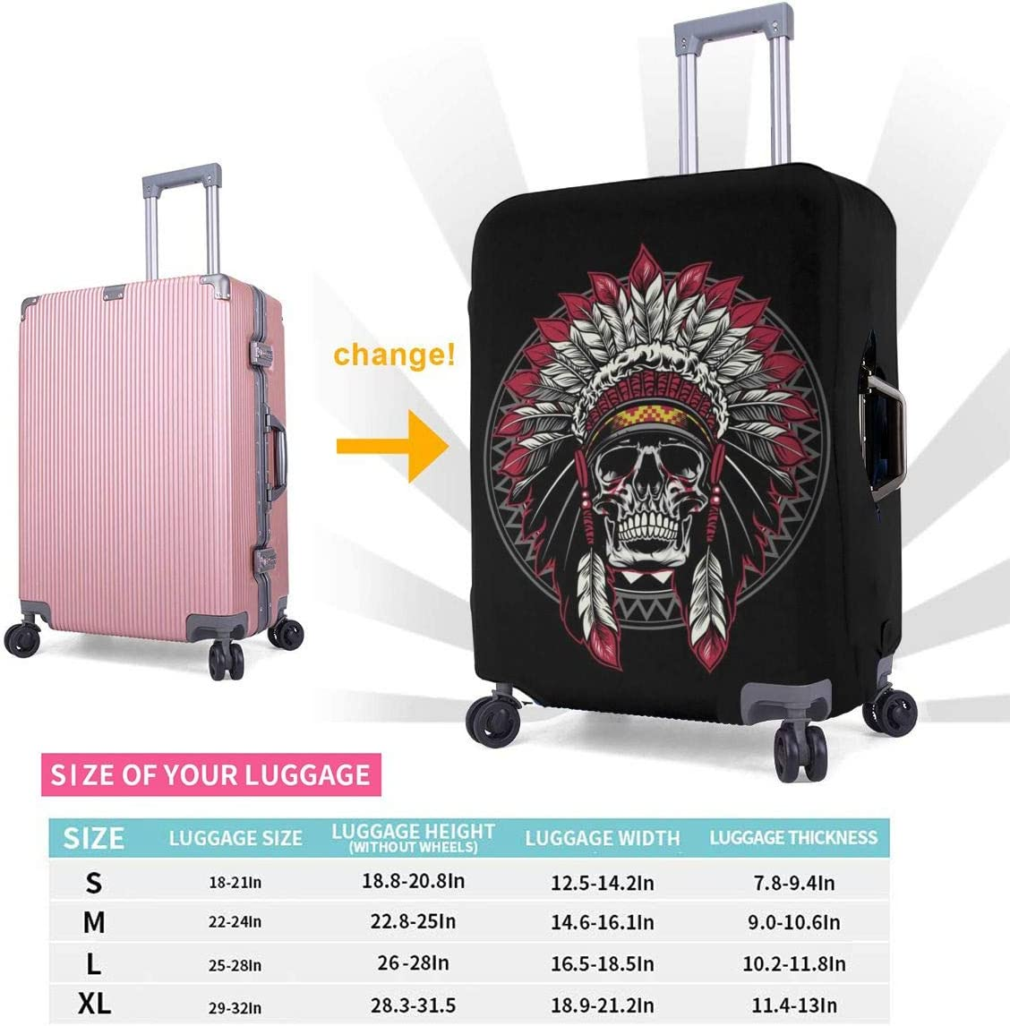 Native America Warrior Skull Headdress XL 18-32 Inch Luggage Cover Protector Bag Suitcase Cover Protectors Travel Luggage Sleeve Protector S M L XL