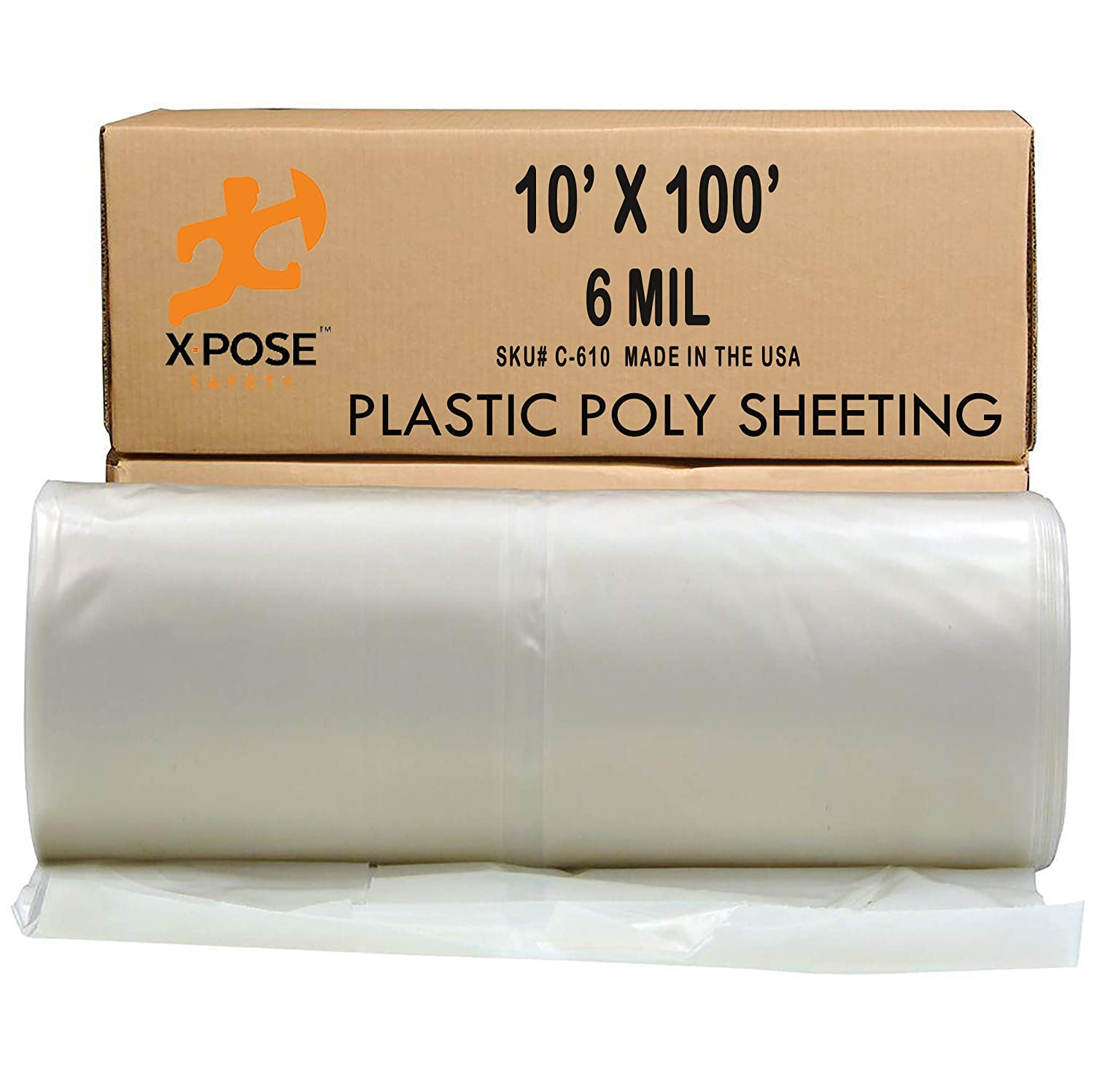 Clear Poly Sheeting - 10x100 Feet – Heavy Duty, 6 Mil Thick Plastic Tarp – Waterproof Vapor and Dust Protective Equipment Cover - Agricultural, Construction and Industrial Use - by Xpose Safety