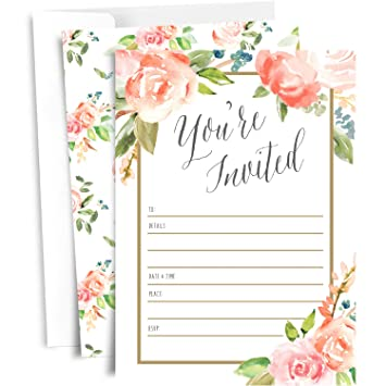 amazon com 25 floral party invitations with envelopes blank fill