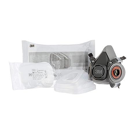 3M 6002C, Mascarilla de seguridad - Semimáscara respiradora reutilizable para pintura con doble filtro - Protección respiratoria - Peso facial 82 gr /color ...