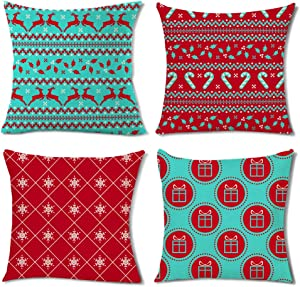 Geometric Pattern Christmas Throw Pillow Cover Reindeer Candy Cane Boho Red and Teal Holly Leaf Winter Sign Decor Square Cushion Case Decorative for Bedroom Sofa Couch 18x18 Inch Set of 4 Cotton Linen