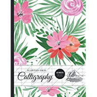 """Slanted Calligraphy Paper 50 Sheets 8.5""""x 11"""", Blank Calligraphy Practice Sheets - Cute Pink Flowers on Green Leafs"""